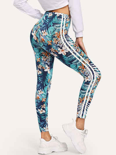High Waist Tropical Print Leggings - Fittness Leggings