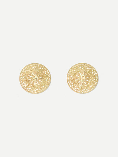 Hollow Disc Stud Earrings - Earrings
