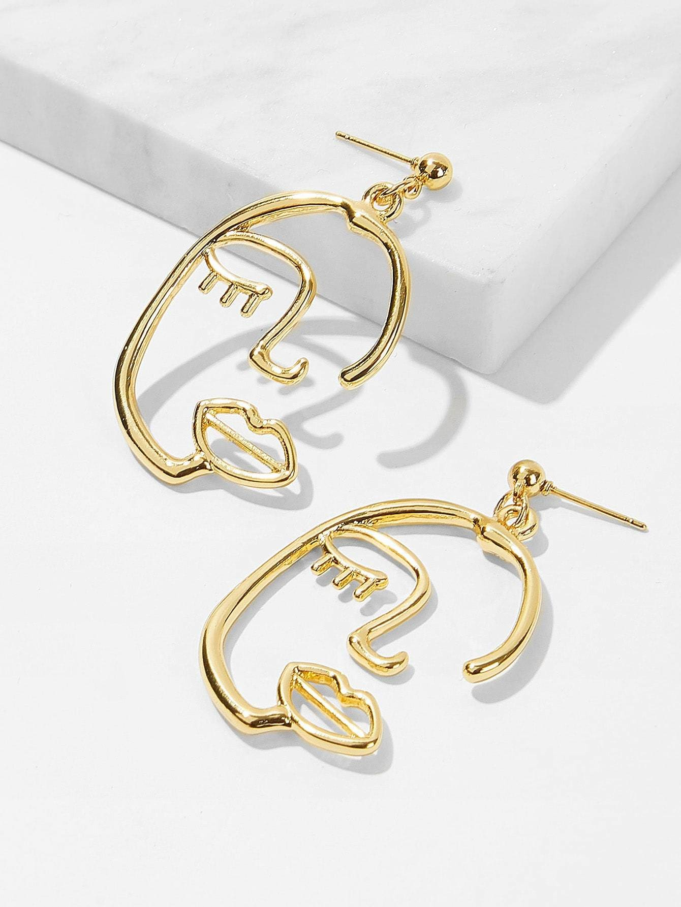 Hollow Face Festival Drop Earrings 1pair - Earrings