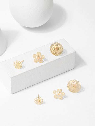 Hollow Flower Stud Earrings 3Pairs - Earrings