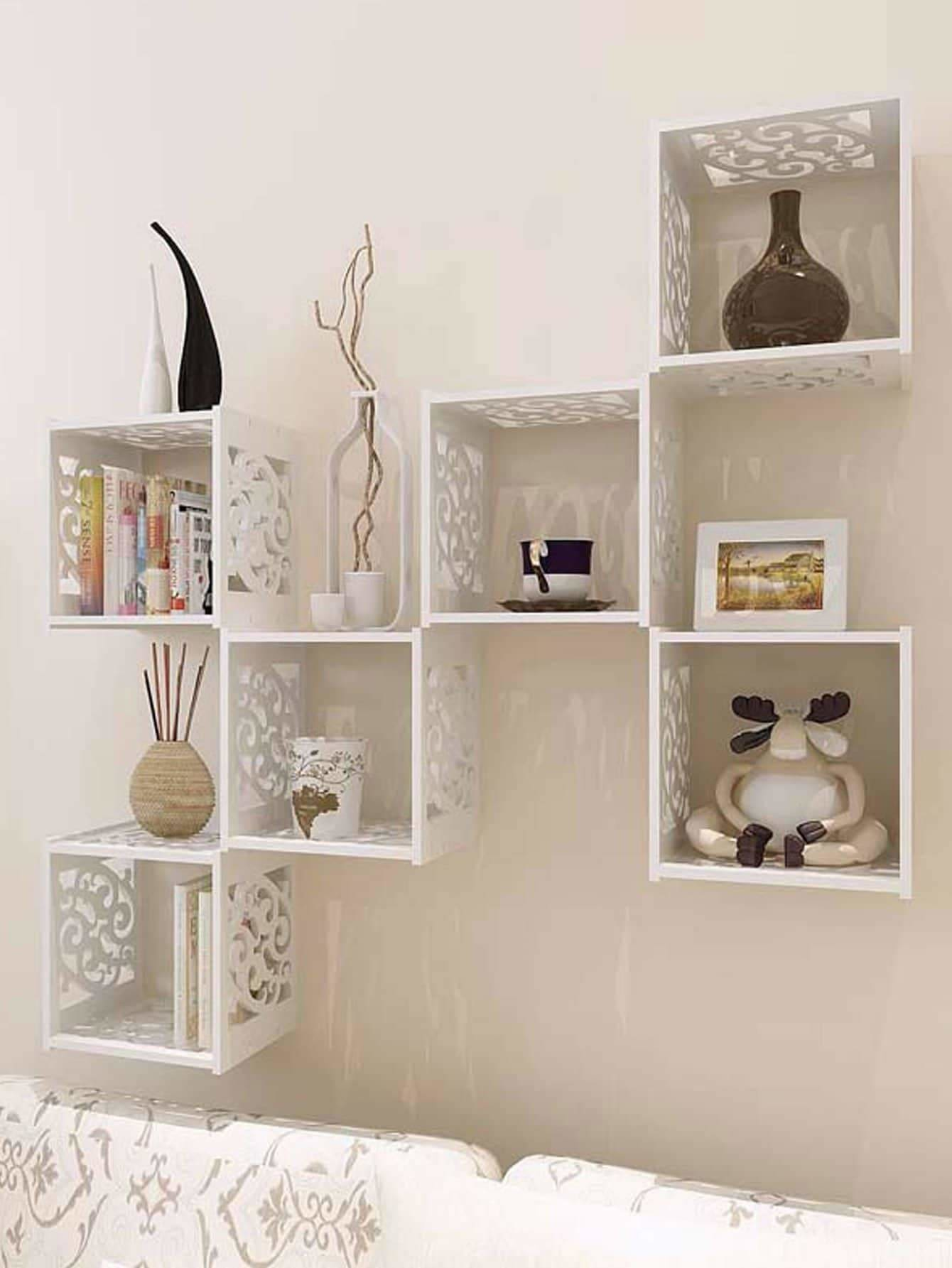 Hollow Grid Cantilever Wall Shelf 1Pc - Wall Art