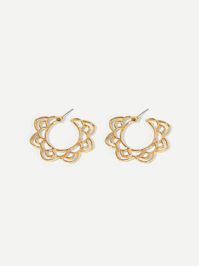Hollow Lotus Hoop Earrings - Earrings