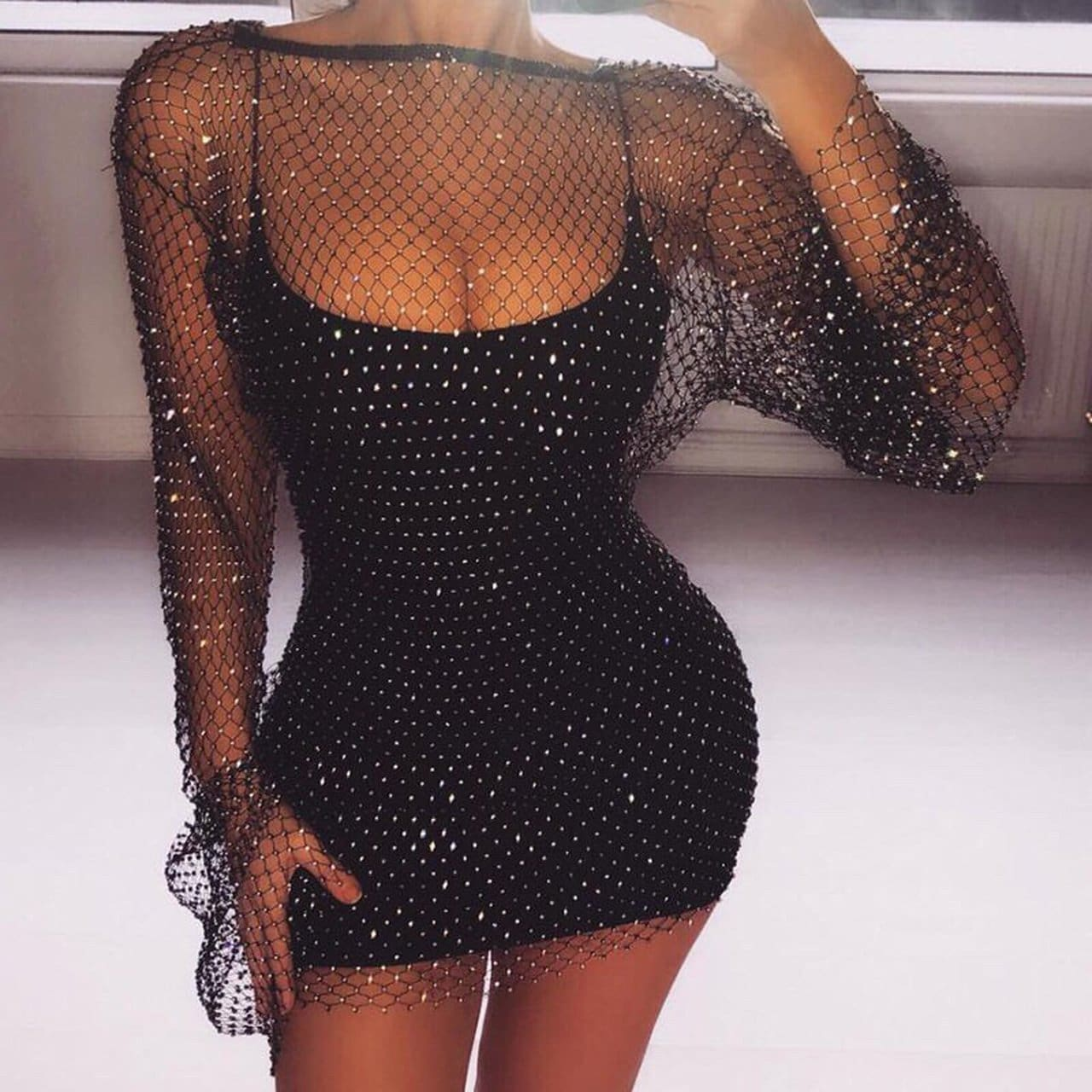 Hollow Out Diamond Party Festival Mini Dress - Black / One Size