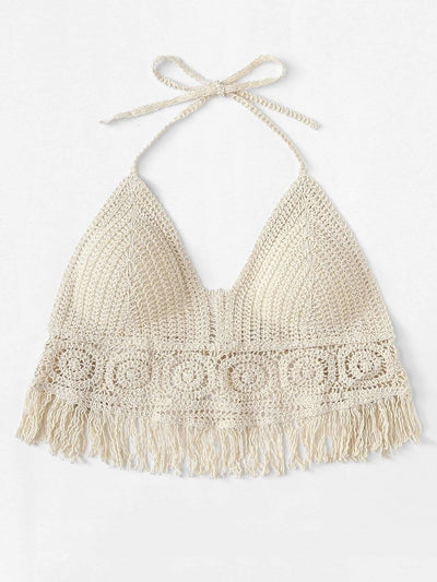 Hollow Out Fringe Hem Crocheted Halter Top - Bikini