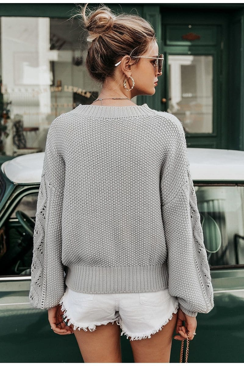 Hollow Out Knitted Lantern Sleeve Sweater