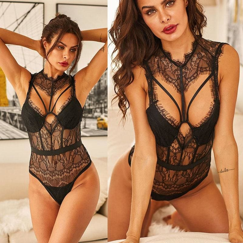 Hollow Out Sheer Lace Strappy Bustier Bodysuit
