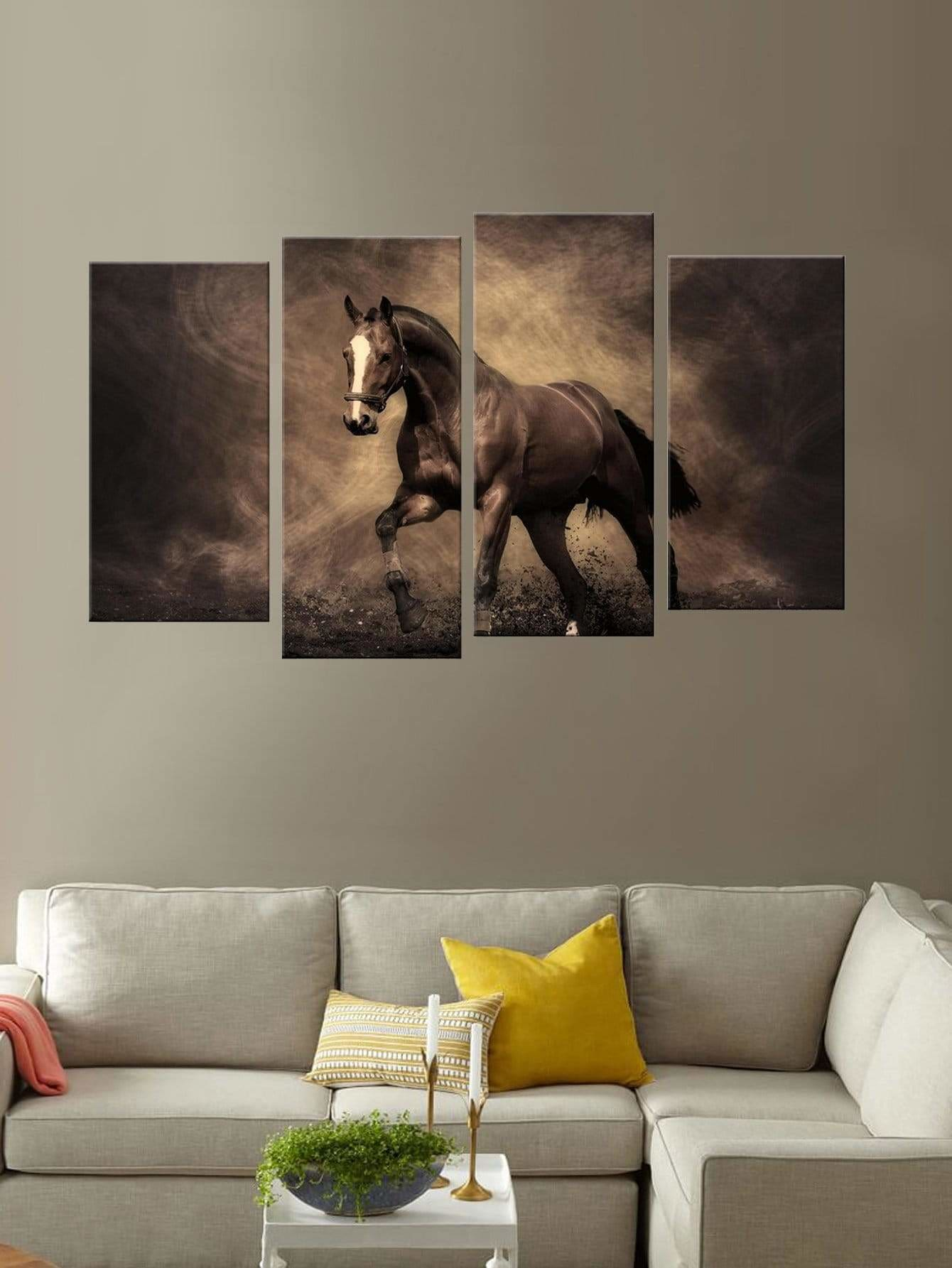 Horse Print Wall Art 4Pcs - Wall Art