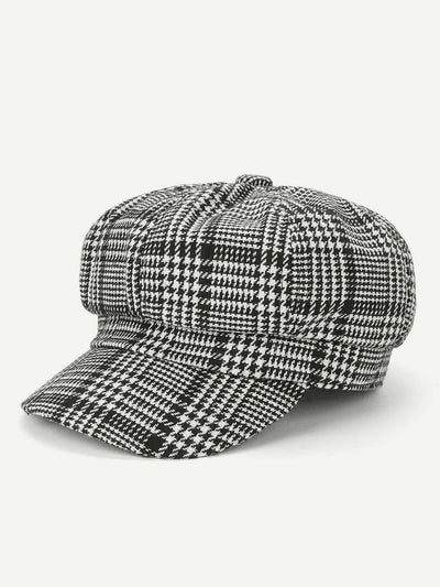 Houndstooth Baker Boy Cap - Hats & Gloves