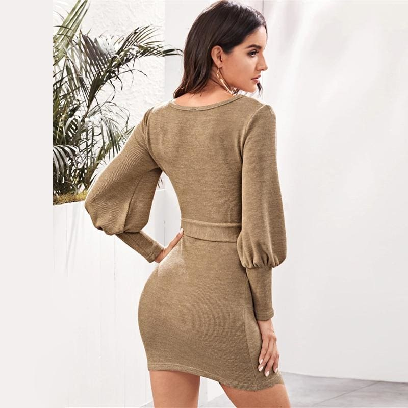 Khaki Casual Scoop Neck Sweater Rib-Knit Mini Dress
