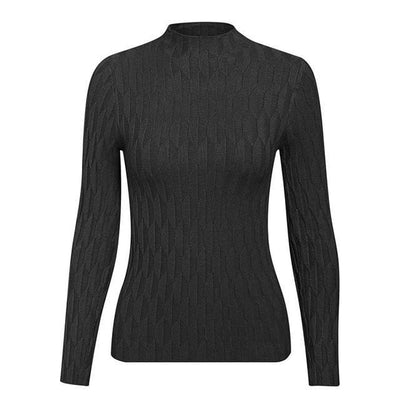 Knitted Long Sleeve Turtleneck Sweater - One Size / Black - Hoodies & Sweatshirts