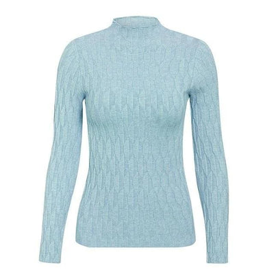 Knitted Long Sleeve Turtleneck Sweater - One Size / Blue - Hoodies & Sweatshirts