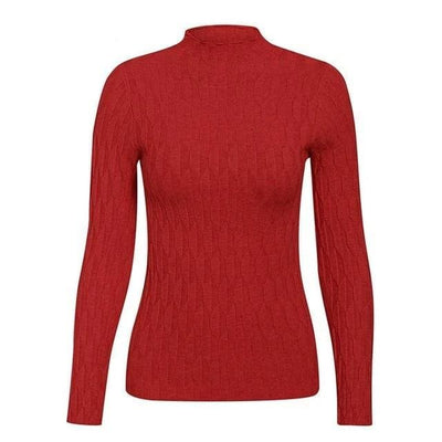 Knitted Long Sleeve Turtleneck Sweater - One Size / Burgundy - Hoodies & Sweatshirts