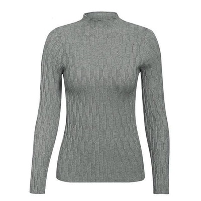 Knitted Long Sleeve Turtleneck Sweater - One Size / Gray 2 - Hoodies & Sweatshirts