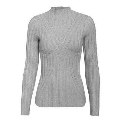 Knitted Long Sleeve Turtleneck Sweater - One Size / Gray - Hoodies & Sweatshirts