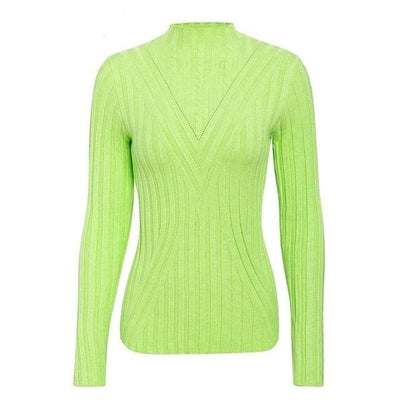 Knitted Long Sleeve Turtleneck Sweater - One Size / Green1 - Hoodies & Sweatshirts