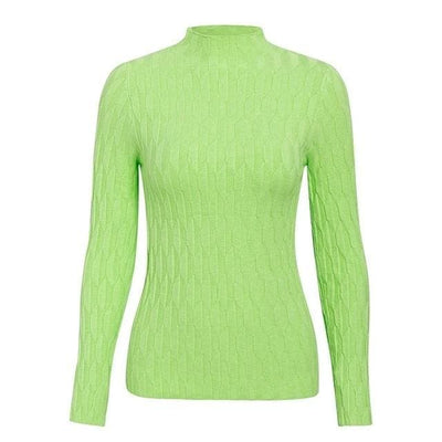 Knitted Long Sleeve Turtleneck Sweater - One Size / Green2 - Hoodies & Sweatshirts