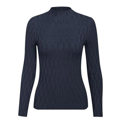 Knitted Long Sleeve Turtleneck Sweater - One Size / Navy Blue - Hoodies & Sweatshirts