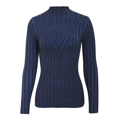 Knitted Long Sleeve Turtleneck Sweater - One Size / Navy - Hoodies & Sweatshirts
