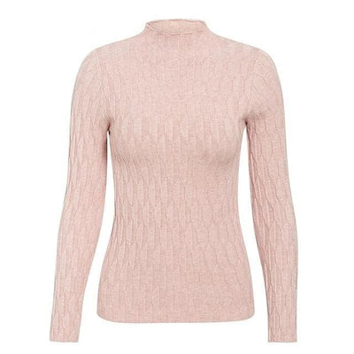 Knitted Long Sleeve Turtleneck Sweater - One Size / Pink - Hoodies & Sweatshirts