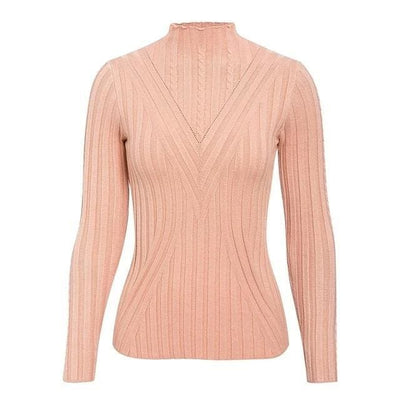Knitted Long Sleeve Turtleneck Sweater - One Size / PInk2 - Hoodies & Sweatshirts