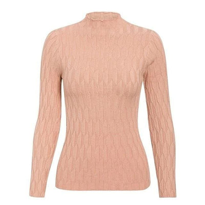 Knitted Long Sleeve Turtleneck Sweater - One Size / Pink3 - Hoodies & Sweatshirts