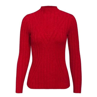 Knitted Long Sleeve Turtleneck Sweater - One Size / Red2 - Hoodies & Sweatshirts