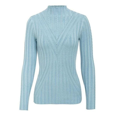 Knitted Long Sleeve Turtleneck Sweater - One Size / Sky Blue - Hoodies & Sweatshirts