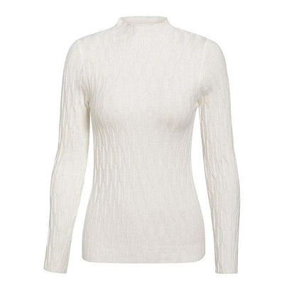 Knitted Long Sleeve Turtleneck Sweater - One Size / White - Hoodies & Sweatshirts