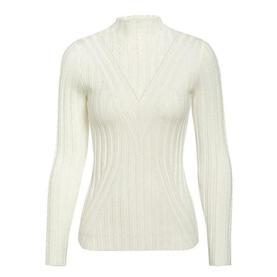 Knitted Long Sleeve Turtleneck Sweater - One Size / White2 - Hoodies & Sweatshirts