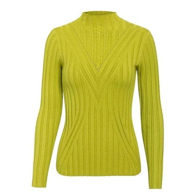 Knitted Long Sleeve Turtleneck Sweater - One Size / Yellow Blue - Hoodies & Sweatshirts