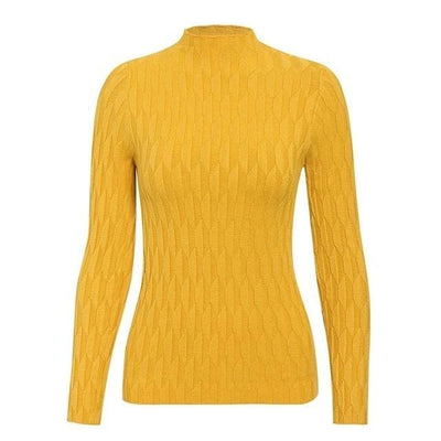 Knitted Long Sleeve Turtleneck Sweater - One Size / Yellow - Hoodies & Sweatshirts