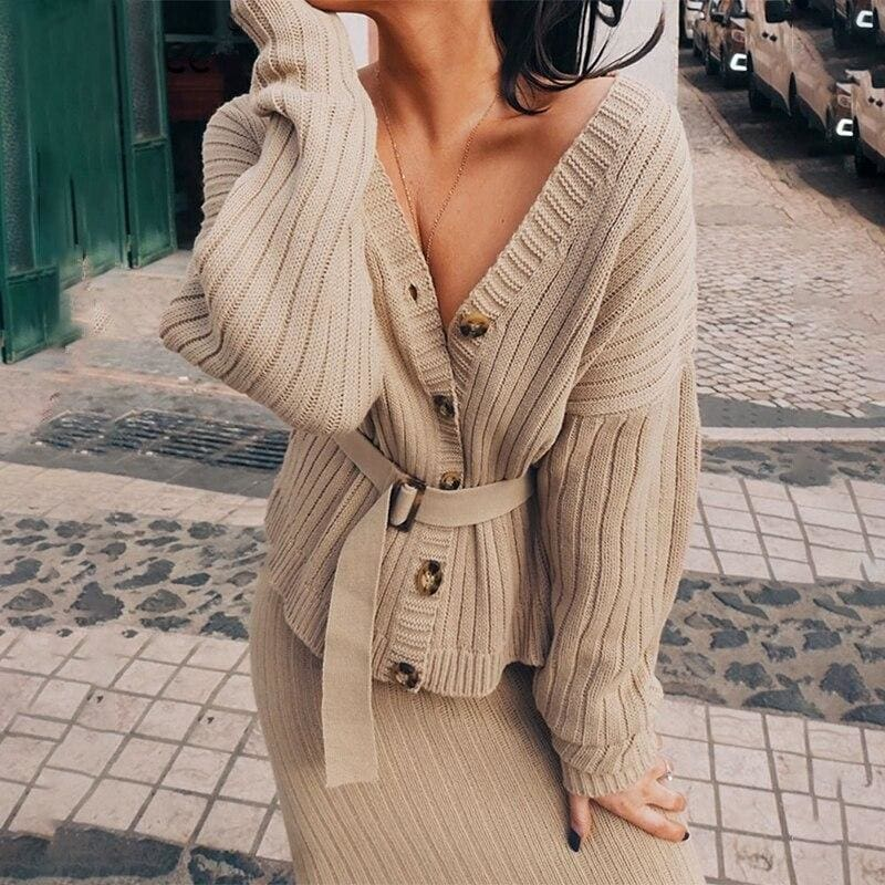 Knitted Sweater Long Sleeve Cardigan Two Pieces Midi Dress - White / M - Dresses