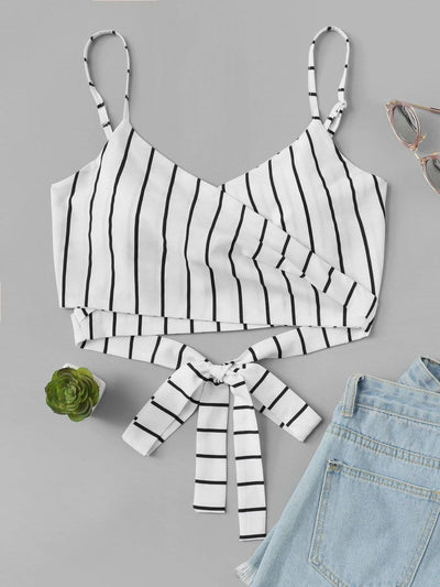 Knot Back Striped Crop Cami Top - Crop Tops