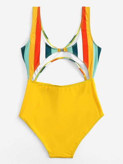 Knot Front Cut-Out Random Striped Swimsuit - One Piece Swimwear