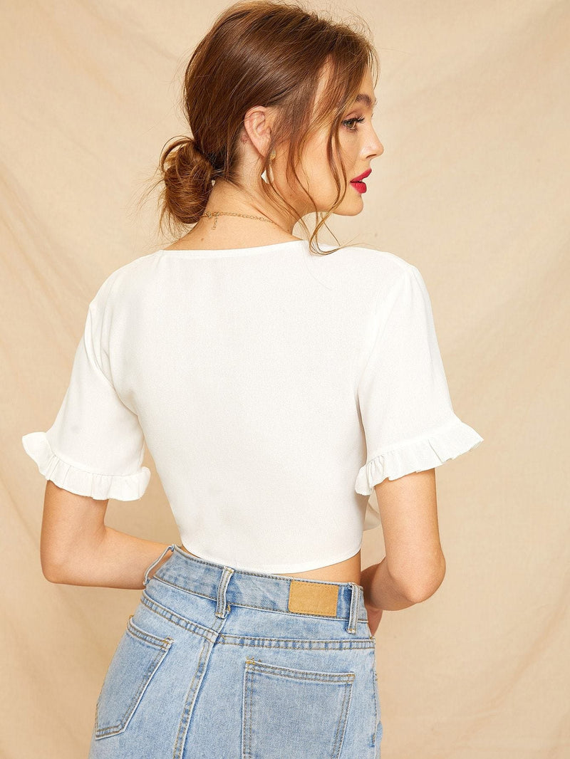 Knot Front Frill Cuff Crop Blouse