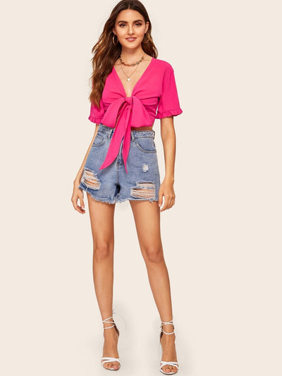 Knot Front Frill Cuff Crop Blouse - Crop Tops