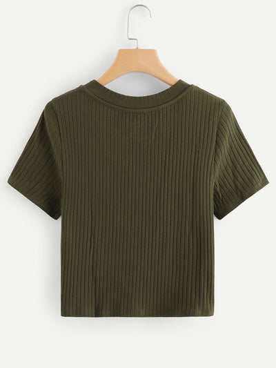 Knot Front Solid Ribbed Tee - Shirts
