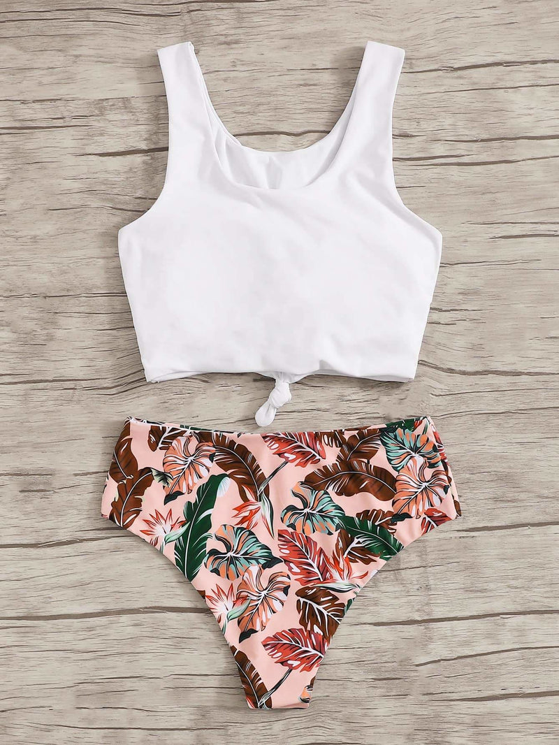 Knot Front Top With Tropical Bikini Set - S - High Waist Swimwear
