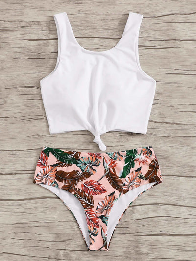 Knot Front Top With Tropical Bikini Set - High Waist Swimwear