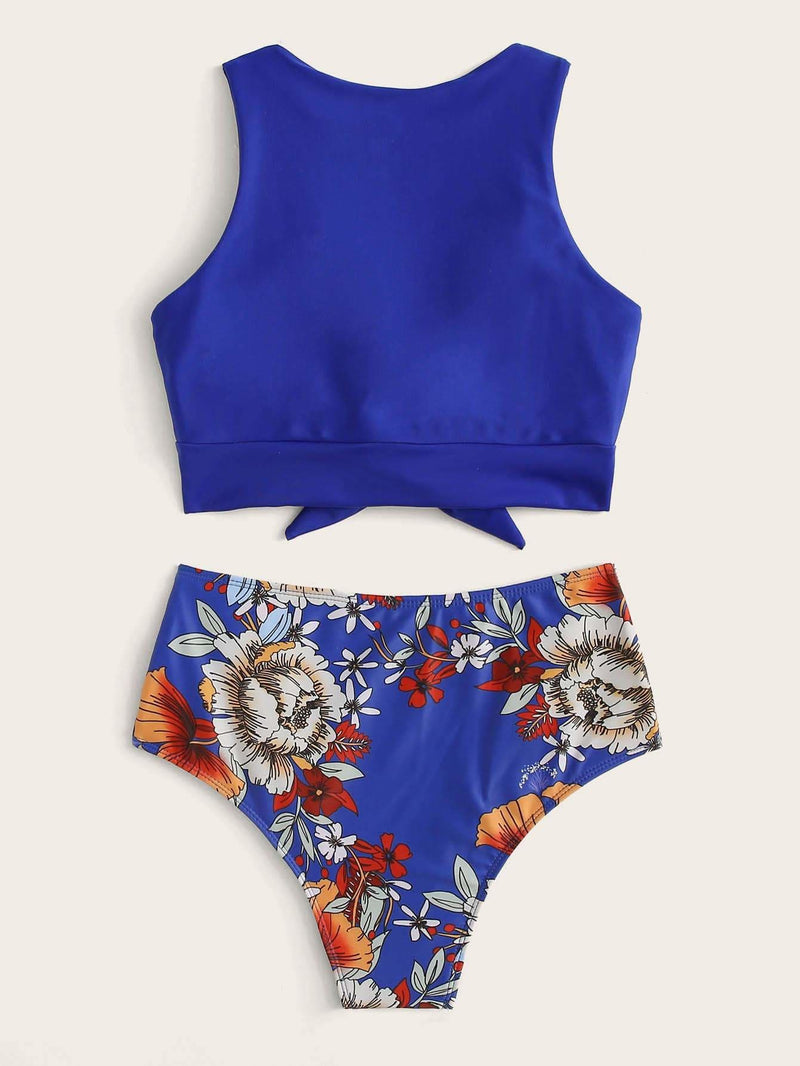 Knot Hem Top With Floral Bikini Set - S - High Waist Swimwear