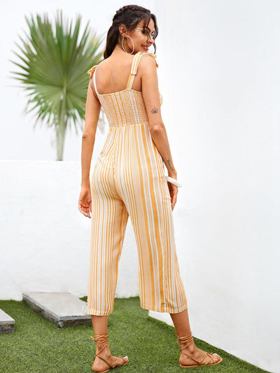 Knot Shoulder Button Front Striped Jumpsuit - Womens Jumpsuits