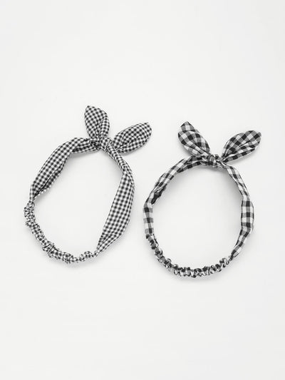 Knotted Bow Plaid Headband 2Pcs - Hair Accessories