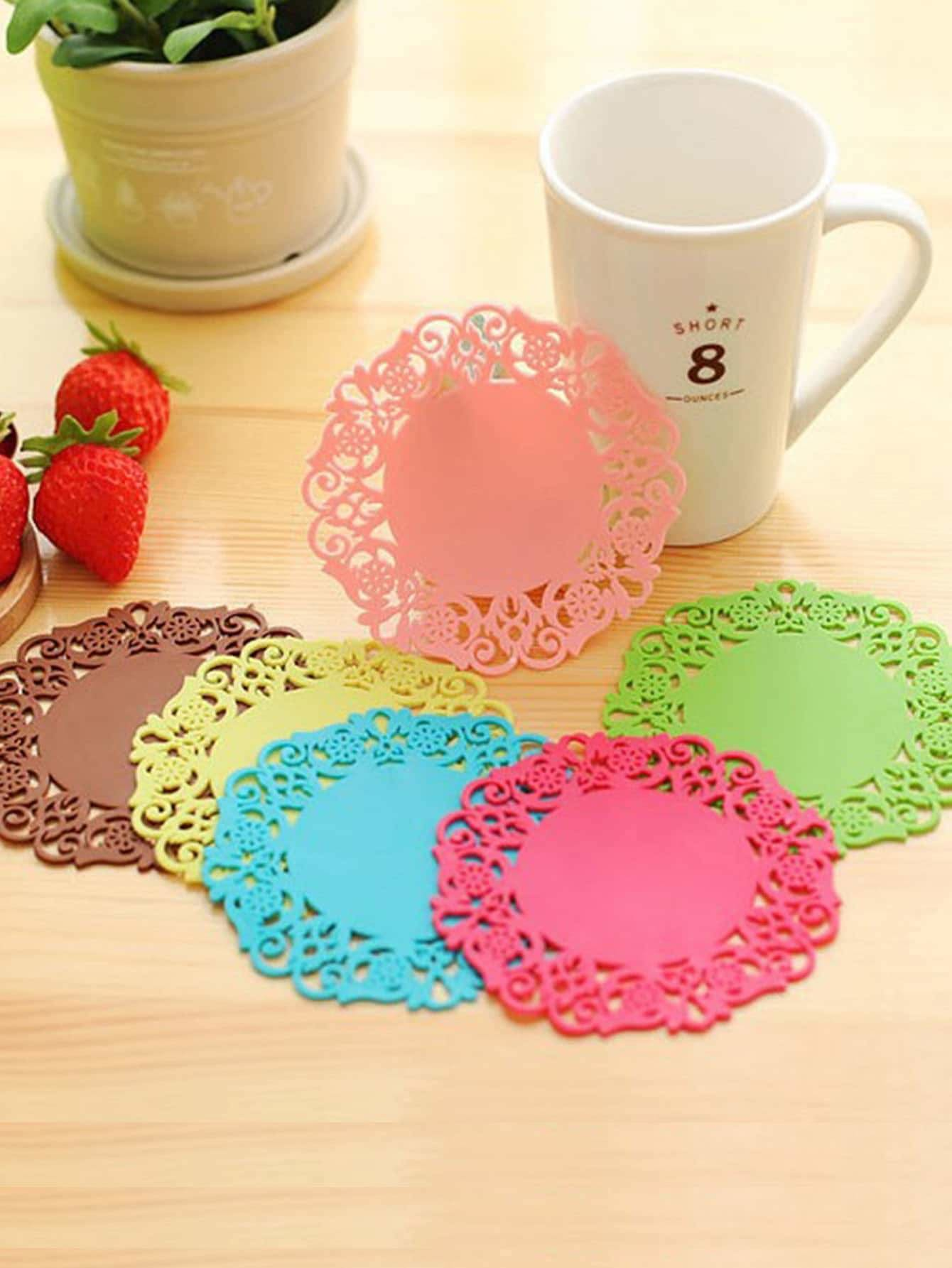 Lace Coaster Set 6Pcs - One-Size / One Color - Dining