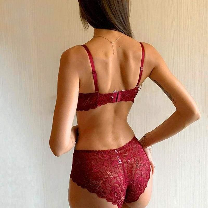 Lace Comfortable Embroidery Lingerie Set - Burgundy / 70A - Lingerie
