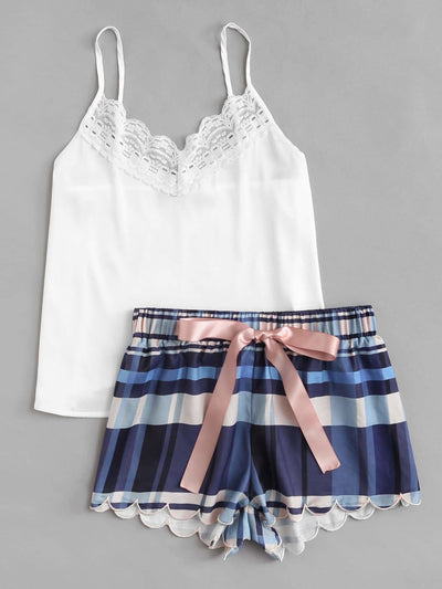 Lace Detail Cami & Scalloped Plaid Shorts Pj Set - Nightwears