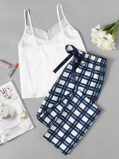 Lace Embellished Cami & Plaid Pants Pajama Set - Nightwears