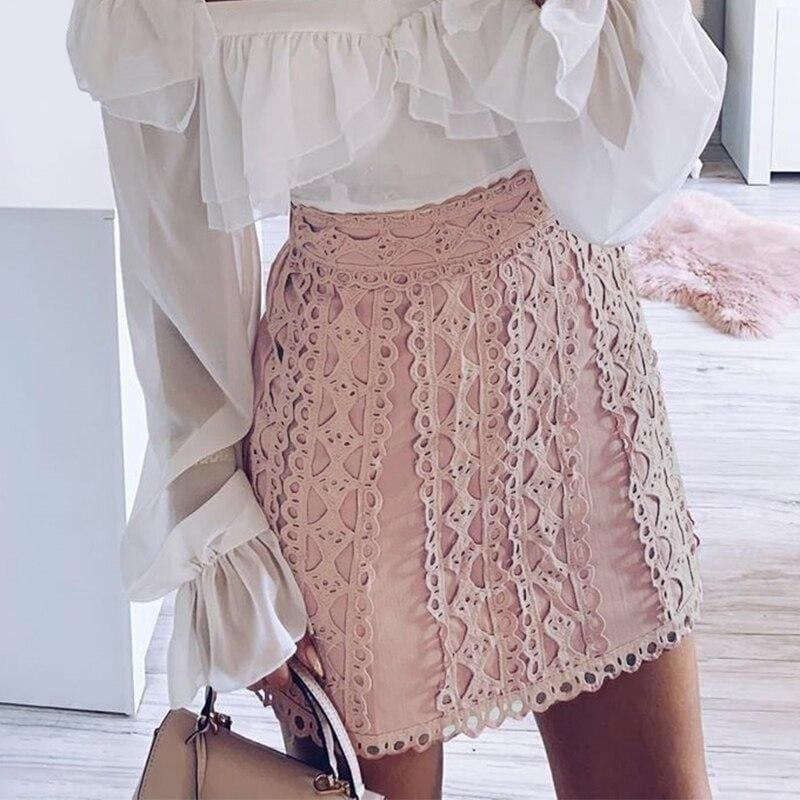 Lace Embroidery Casual Skirt - Pink / L - Skirts