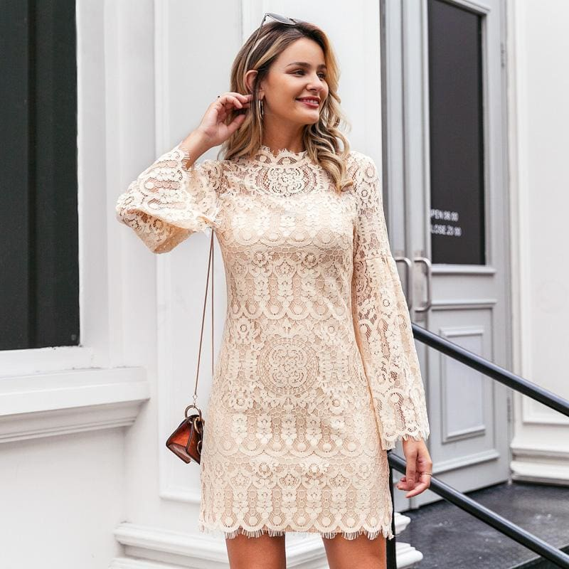 Lace Embroidery Flare Sleeve Ruffled Going Out Mini Dress