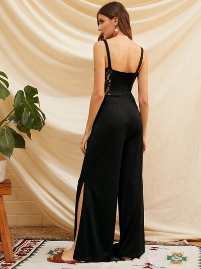 Lace Insert Split Side Wide Leg Jumpsuit - Womens Jumpsuits