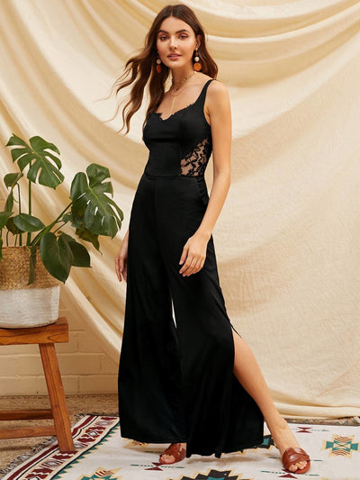 Lace Insert Split Side Wide Leg Jumpsuit - XS - Womens Jumpsuits